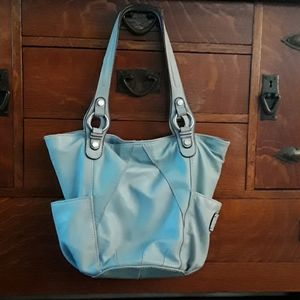 Light blue, soft, leather shoulder bag